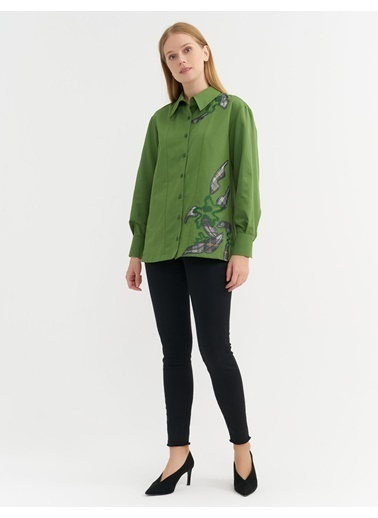 BGN Yeşil - Nakış Detaylı Poplin Gömlek Yeşil